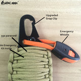EDC Outdoor Multipurpose 12 in 1 survival Paracord Rescue cord fishing tools,Carabiner Grenade Survival Kit