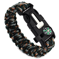 5 in 1 Paracord Survival Bracelet Flint, Whistle & Compass