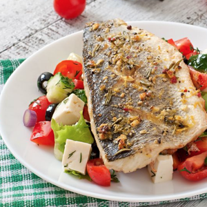 Baked Sea Bass With Greek Salad