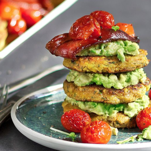 Breakfast Corn Fritters With Roast Cherry Tomatoes & Bacon