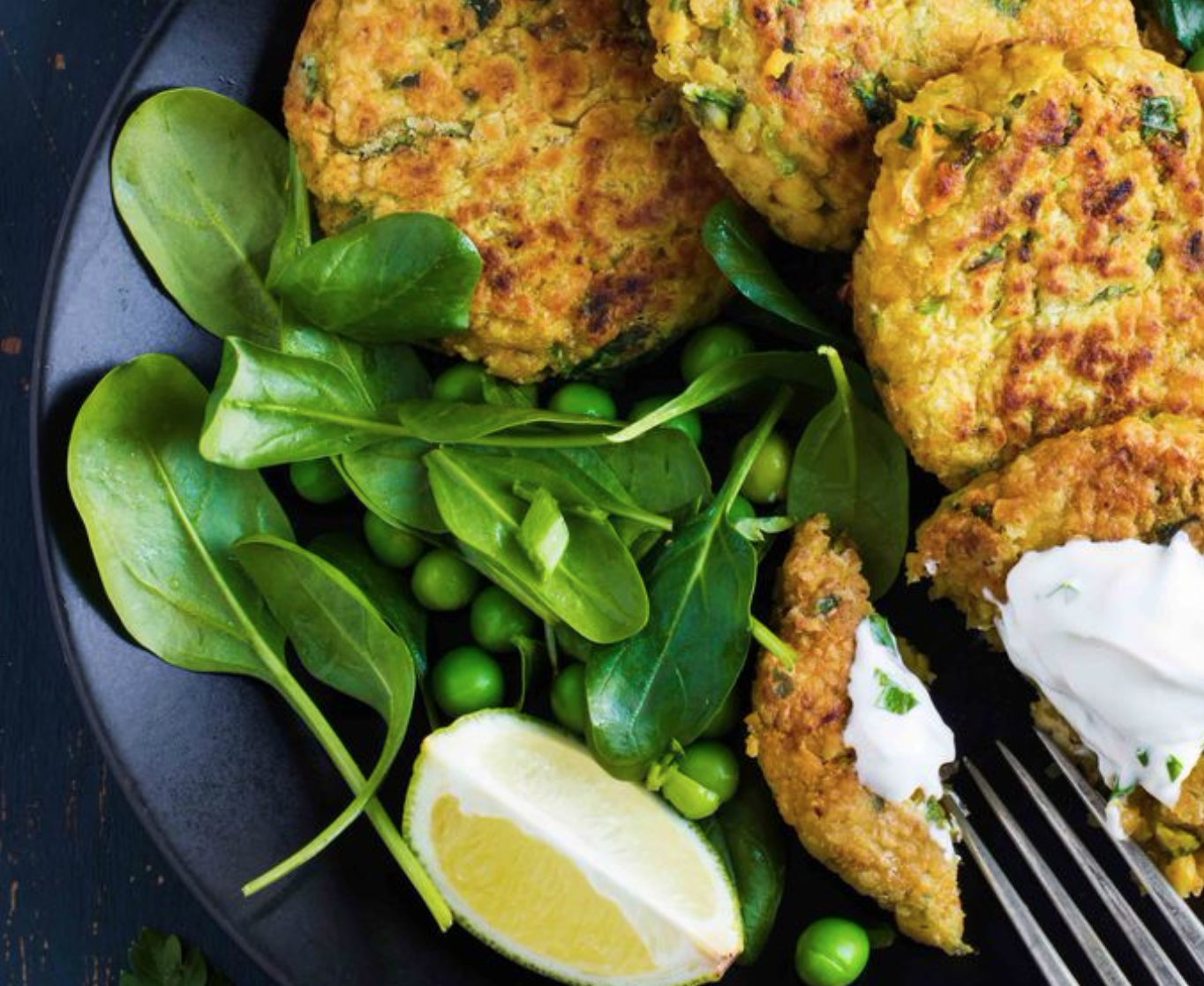 Chickpea Fritters With Spinach