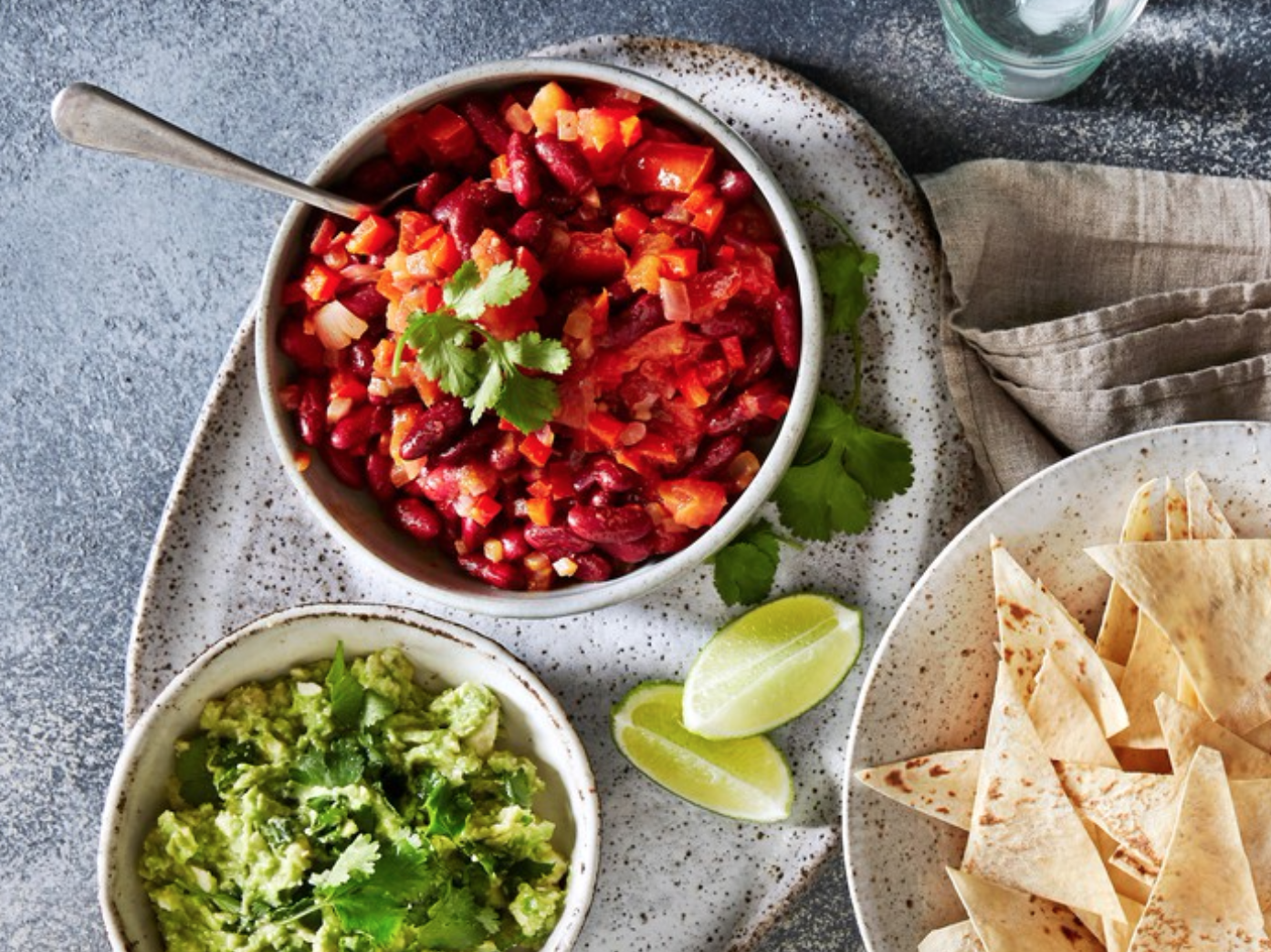 Vegetarian Nachos With Feta Guacamole