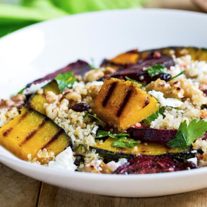 Warm Quinoa Salad With Grilled Pumpkin & Beetroot