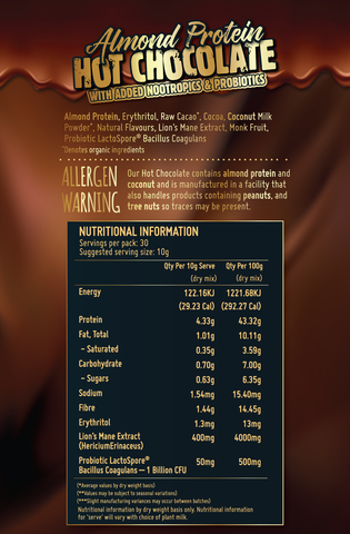 Almond Protein Hot Chocolate Nutritional Information - Macro Mike | MAK Fitness