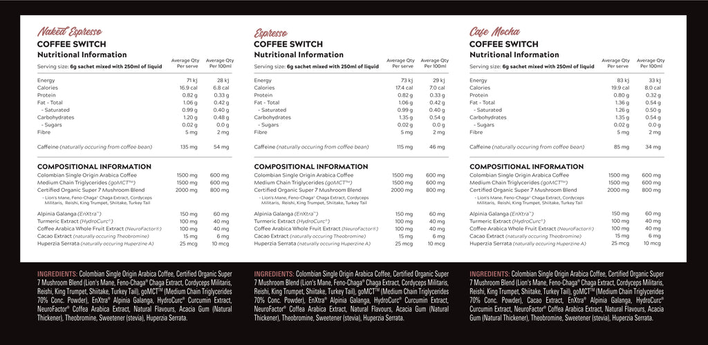 Coffee Switch - Nutritional Information - Switch Nutrition | MAK Fitness