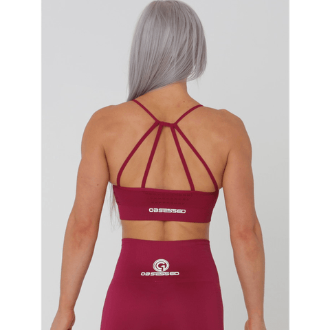 Aurora Crop Sports Bra - Red by Obsessed Gymwear | MAK Fitness