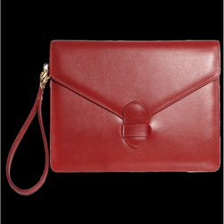 Buffed Calf Leather Envelope Wristlet Ruby