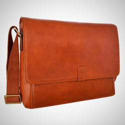 Leather Business Laptop Messenger Crossbody Bag