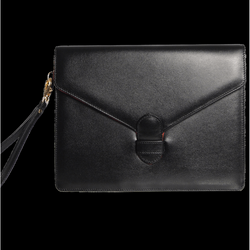Buffed Calf Leather Envelope Wristlet Black