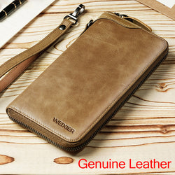 Long Genuine Cow Leather Wallet/Clutch
