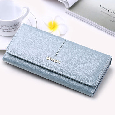 Fashion genuine leather wallet with cellphone pocket