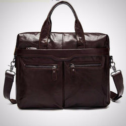 Crossbody genuine leather cowhide travel bag tote Laptop briefcase