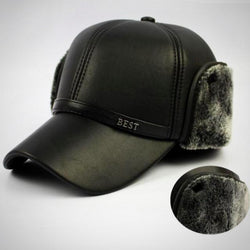 Men and Women Warm Winter Leather Fur Baseball Cap