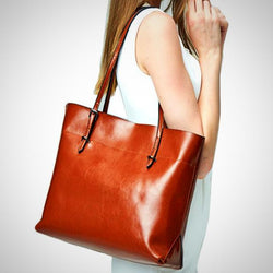 Casual genuine leather tote bag