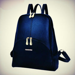 Preppy backpack PU leather solid pendant casual backpack