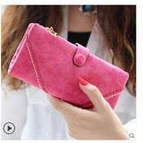 Fashion retro matte stitching wallet - Long purse clutch