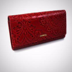 Genuine leather wallet embossing flower design high quality purse clutch