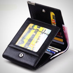 Practical trifold genuine leather wallet