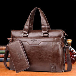Genuine leather laptop mobile briefcase