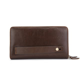 Double zipper genuine leather wallet - Clutch bag