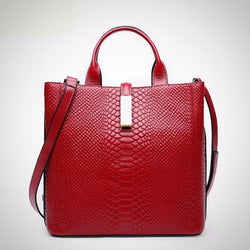 High quality serpentine embossed  leather luxury handbag