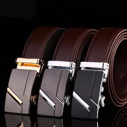 High quality leather belt with automatic buckle