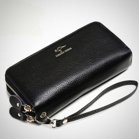 Fashion double zipper genuine leather wallet/clutch purse