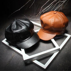 Fall Winter New Fashion Women Solid Color PU Faux Leather Cap