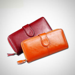 Oil wax genuine leather wallet and clutch