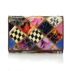 Functional Genuine Cowhide Leather Patchwork Wallet
