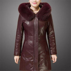 Winter Style Hooded Collar PU Leather/Fur Faux Coat