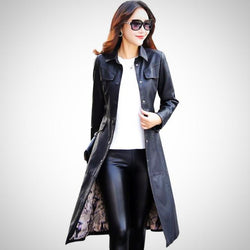 Autumn trench elegant long PU faux leather coat