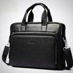 Genuine leather functional laptop briefcase