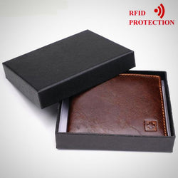 Genuine Leather Wallet With Electromagnetic Shield Protection
