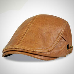 Men's Genuine Leather Flat Golf Style Cap