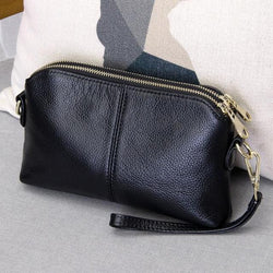 Casual genuine leather clutch and crossbody bag