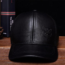 Men's Warm Genuine  Cow Leather Baseball Hat