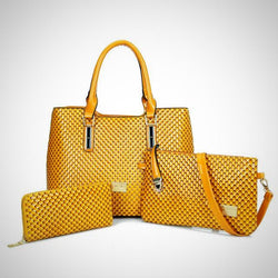 Snake Skin Patent Leather 3 PCS Set Handbag-Crossbody-Wallet