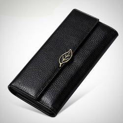 Genuine three fold leather wallet-long purse clutch