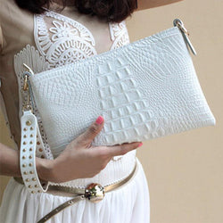 Luxurious Genuine Leather Crocodile Pattern Envelope Crossbody-Clutch Purse