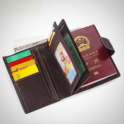 Genuine leather passport holder and wallet