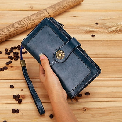 Wax Oil Genuine Leather Wallet-Clutch