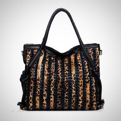 Genuine leather Leopard print tote handbag