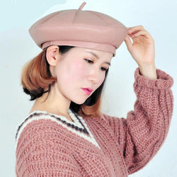 French Style Faux Leather Winter Beret