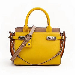 Genuine Leather Panelled Pattern Handbag 9665