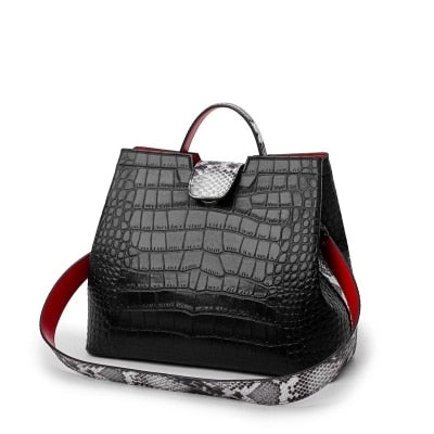 Genuine Leather Elegant Boa Pattern Tote Handbag - 98656