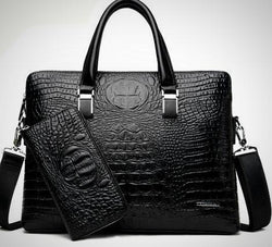 Genuine Crocodile Pattern Leather Business Briefcase/Laptop Bag