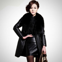 Winter Faux Sheepskin Leather Coat With Large Fur Collar