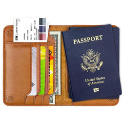 Travel Genuine Leather Passport And Credit Card Holder