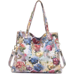Shiny Flower Blossom Genuine Leather Tote Handbag